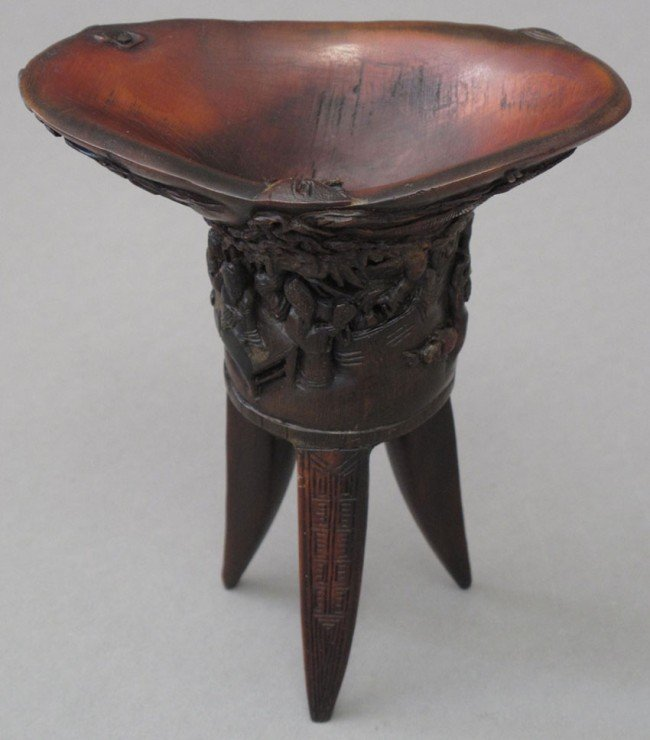"""70: CHINESE HORN WINE VESSEL height: 4 3/4"""""""