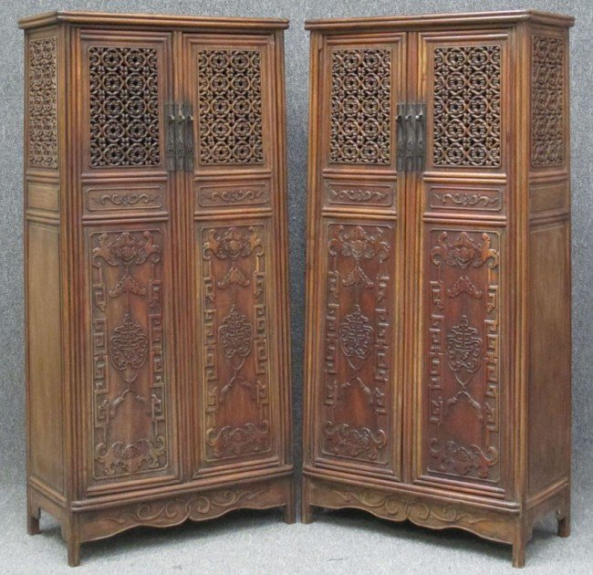 """78: PAIR OF CARVED CHINESE COURT CABINETS height:64"""",wi"""