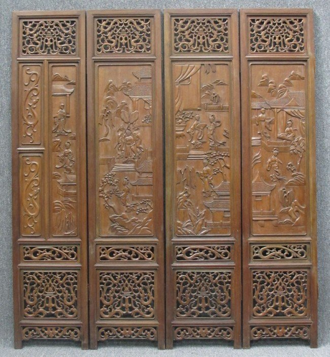 """79: CHINESE EIGHT PANEL DRESSING SCREEN each panel: 18"""""""