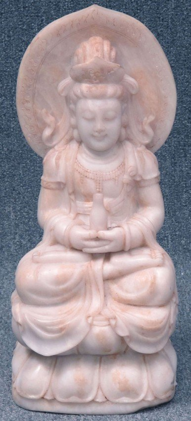 121: CHINESE CARVED STONE STATUE OF QUAN YIN height: 22