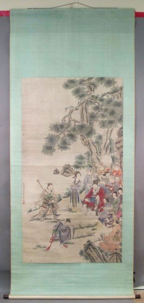 "LATE QING CHINESE PAINTING Sight: 35""x 64 1/2"""