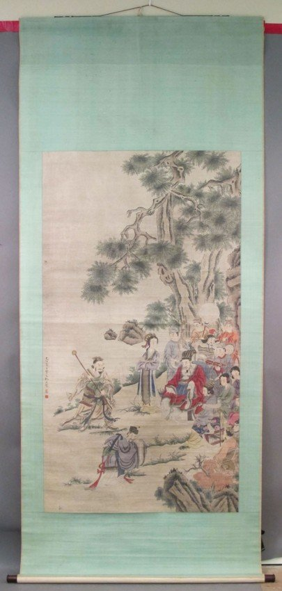 """123: LATE QING CHINESE PAINTING sight: 35""""x 64 1/2"""""""