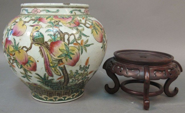 """126: CHINESE PORCELAIN STORAGE POT height: 10"""""""