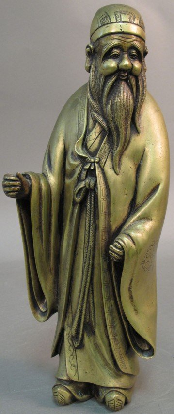 132: CHINESE BRONZE FIGURE OF LOHAN stamped on side hei