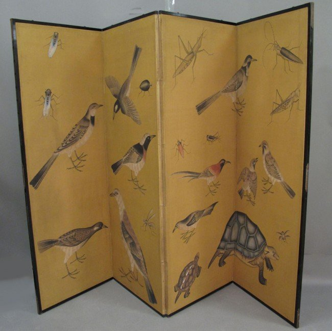 134: JAPANESE PAINTED FOUR PANEL SCREEN overall: 80 1/2