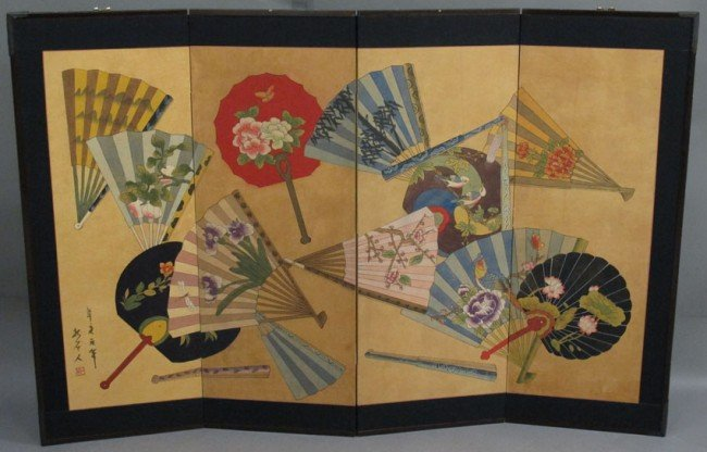 135: JAPANESE FOUR PANEL SCREEN with fan decoration ove