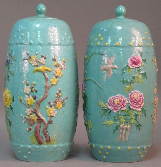 137: PAIR OF MOLDED 19TH CENTURY CHINESE LIDDED JARS he
