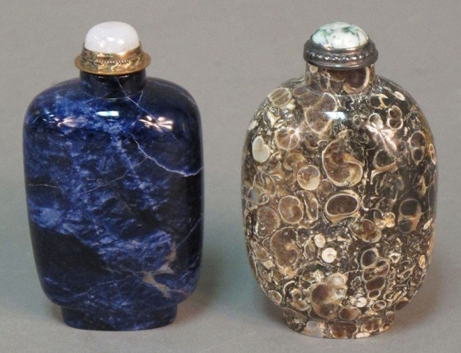 142: LOT OF (2) CARVED STONE SNUFF BOTTLES height: 2 3/