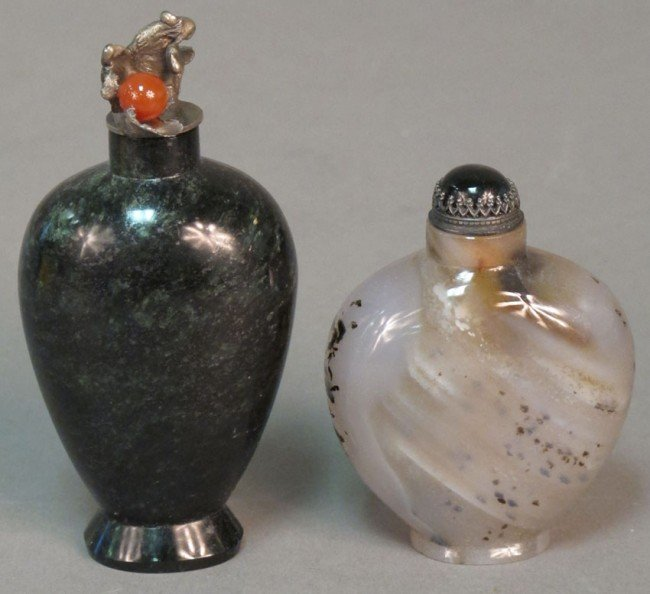 144: LOT OF (2) SNUFF BOTTLES INCLUDING OBSIDIAN height
