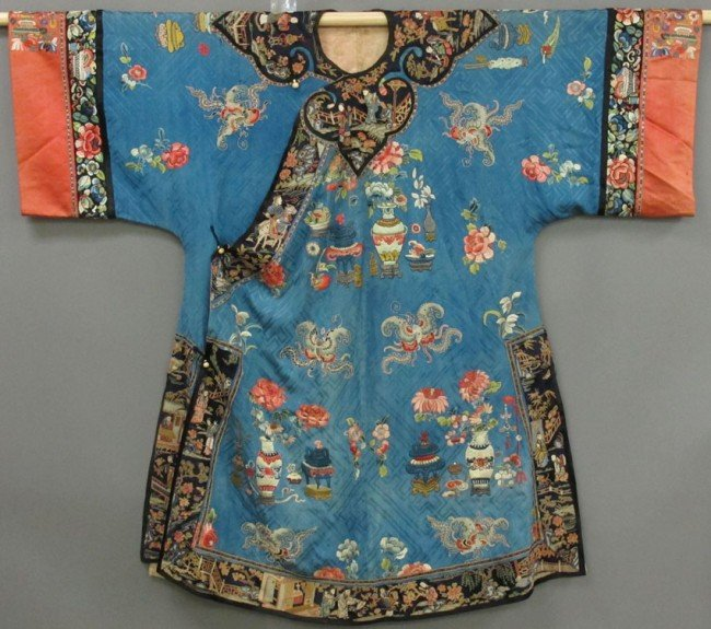 153: CHINESE SILK EMBROIDERED ROBE circa 19th century