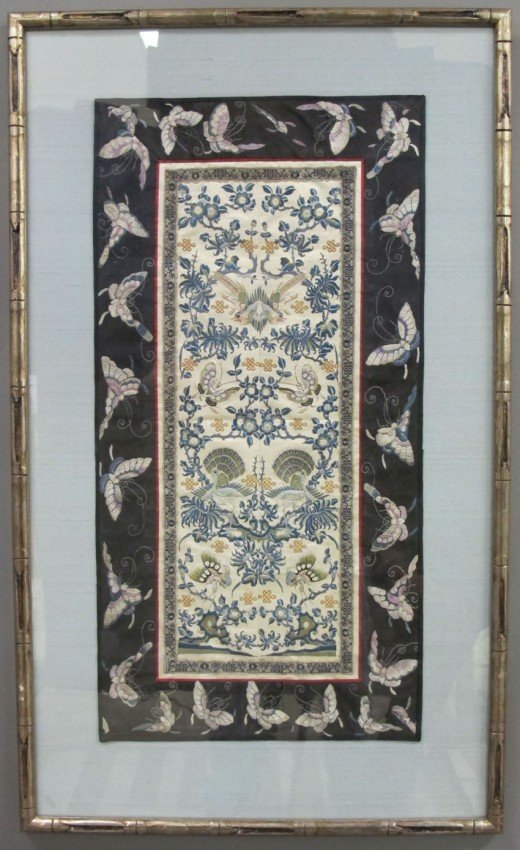 157: LOT OF (2) CHINESE EMBROIDERED SILK PANELS circa 1