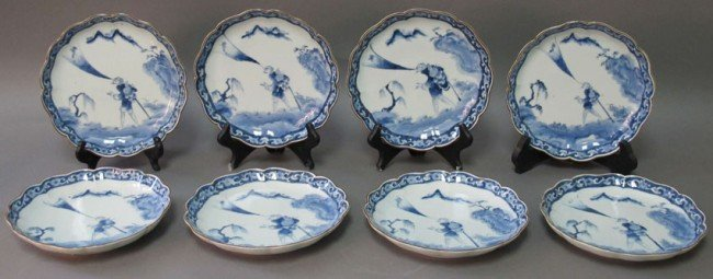 162: SET OF (8) CHINESE BLUE AND WHITE PLATES circa 20t