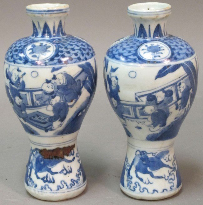 350: PAIR OF BLUE AND WHITE PORCELAIN VASES height: 6 1