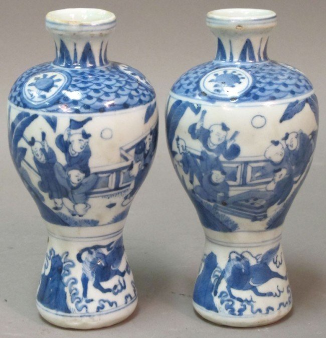 350: PAIR OF BLUE AND WHITE PORCELAIN VASES height: 6 1 - 2