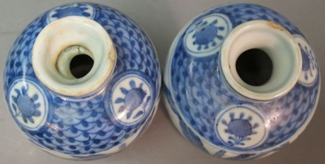 350: PAIR OF BLUE AND WHITE PORCELAIN VASES height: 6 1 - 6