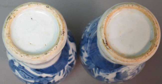 350: PAIR OF BLUE AND WHITE PORCELAIN VASES height: 6 1 - 7
