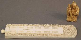 436: CHINESE CARVED IVORY CRIBBAGE BOARD AND JAPANESE S