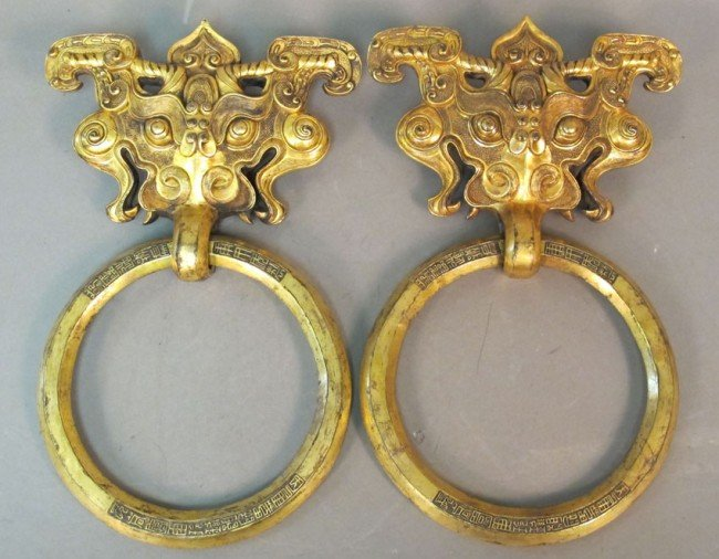 50A: PAIR OF GILT BRONZE DOOR HANDLES, Yuanming Yuan