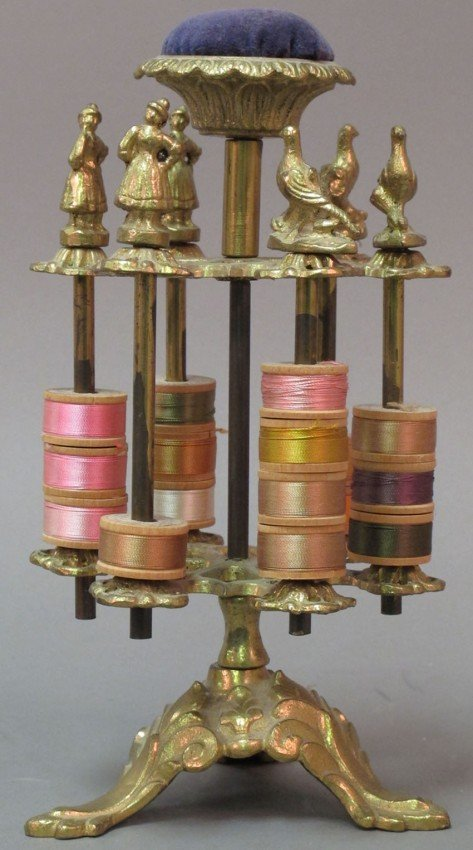 1002: EARLY 20TH CENTURY CAST BRASS SPOOL HOLDER height