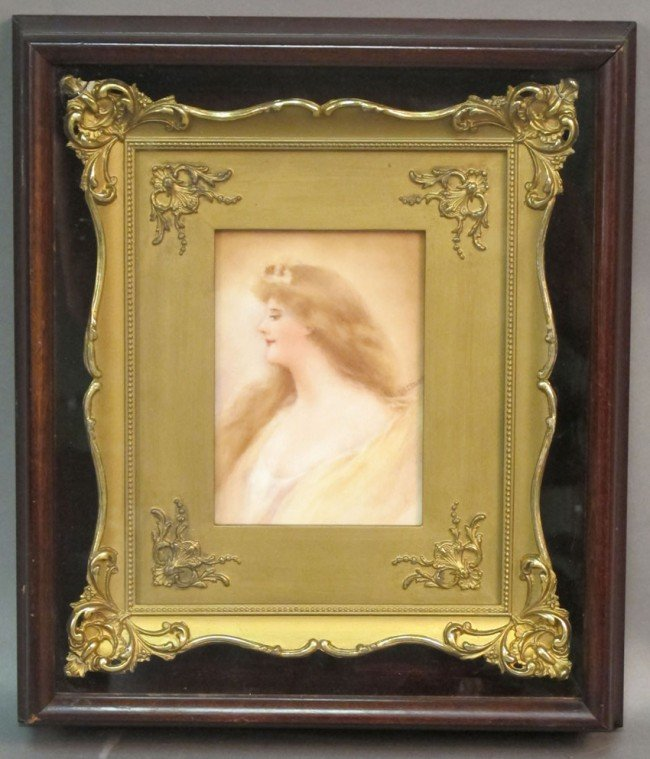 """1003: LATE 19TH CENTURY PAINTED PLAQUE sight: 3 1/2""""x 5"""