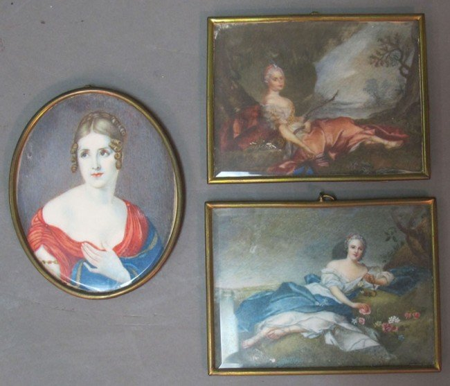 1004: LOT OF (3) FRENCH PAINTINGS ON IVORY