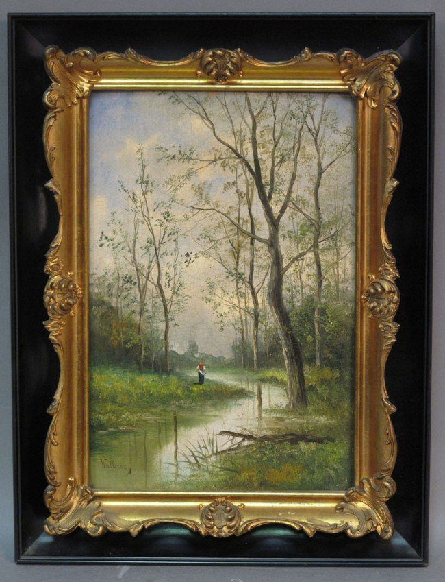 1005: O/B, MID-19TH CENTURY LANDSCAPE with figure signe