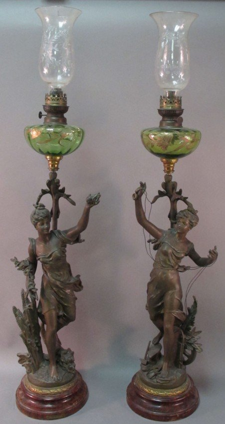 1010: PAIR OF FRENCH SPELTER STATUE LAMPS with Moser St