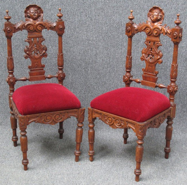 1012: PAIR OF ITALIAN CARVED WALNUT SIDE CHAIRS with ch