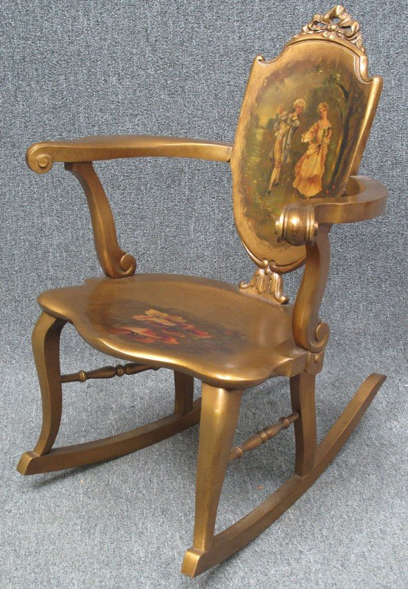 1015: FRENCH PAINTED ROCKER circa 1900's