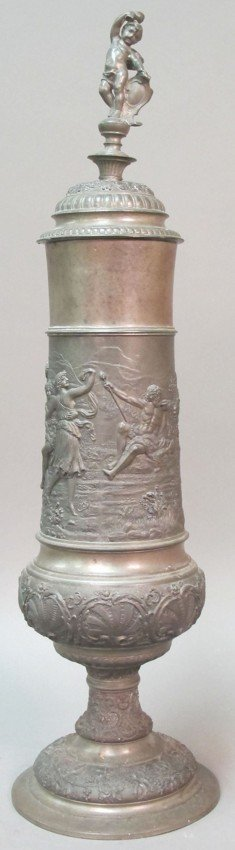 1016: GERMAN PEWTER STEIN with Classical figures height