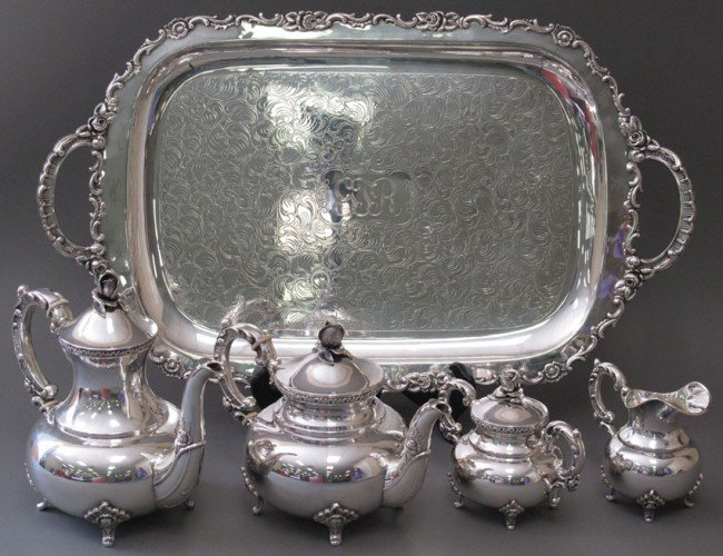 1025: STERLING SILVER (5) PC. TEA SERVICE weight: 120 t