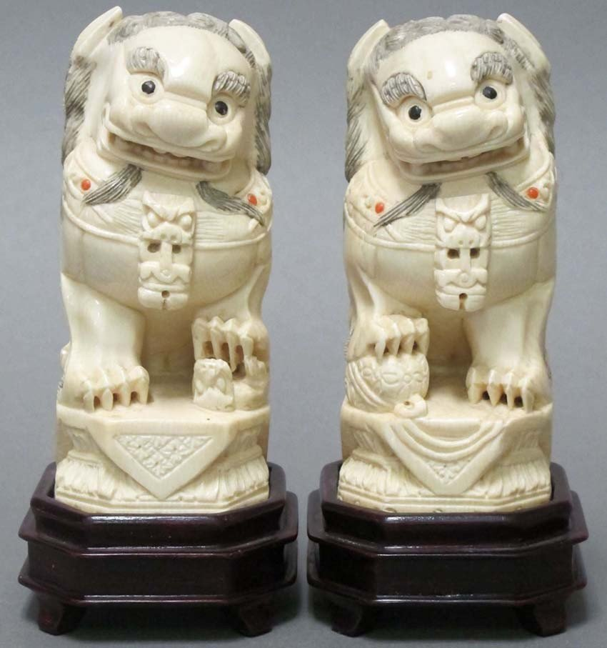 2: PAIR OF CHINESE CARVED IVORY FOO DOGS height: 4 3/4""