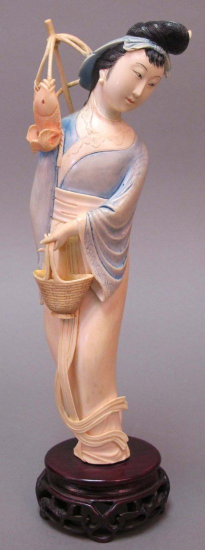 7: CHINESE CARVED IVORY FIGURE OF WOMAN height: 10 1/2""