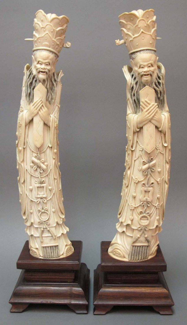 12: PAIR OF CHINESE DAOIST PRIEST IVORY CARVINGS, 19th