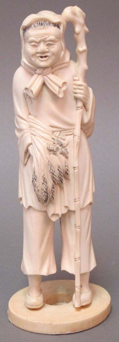 15: CHINESE CARVED FIGURE OF FARMER height of ivory: 9