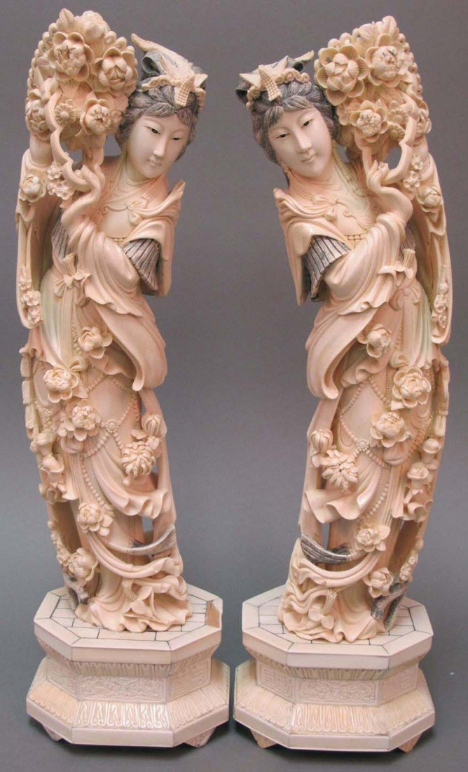 19: PAIR OF CHINESE CARVED IVORY COURT FIGURES height o