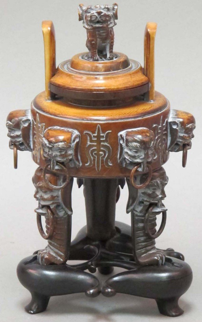 20: CHINESE CARVED IVORY CENSER with stand height of iv
