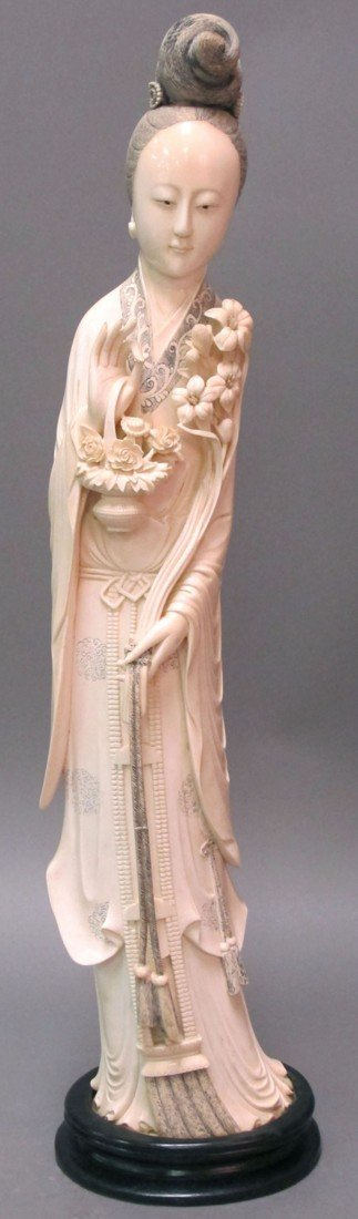 22: CHINESE CARVED IVORY OF QUAN YIN FIGURE length: 25""