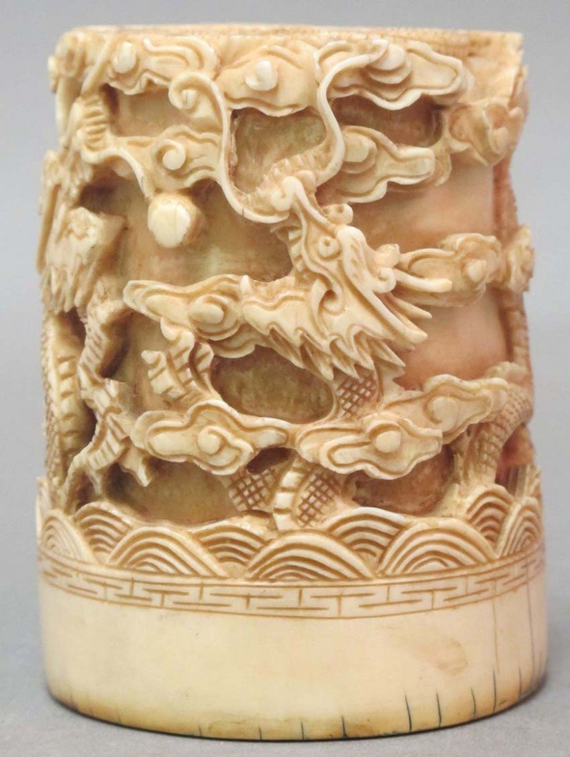 "23: CHINESE CARVED IVORY STAMP (SEAL) height: 3"", diame"