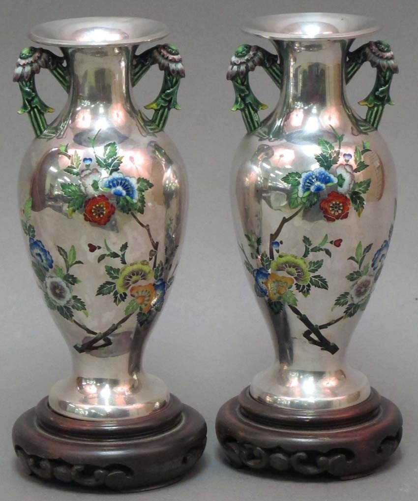 33: PAIR OF CHINESE SILVER AND ENAMELED VASES marked .9