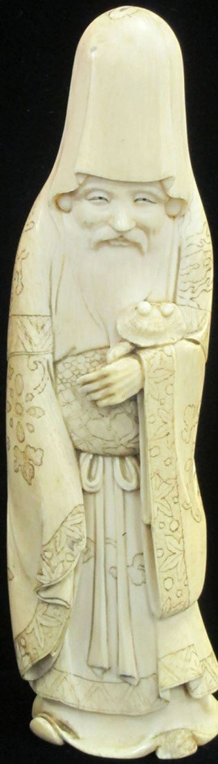 1A: CHINESE CARVED IVORY LOHAN FIGURE possible Ming Dyn