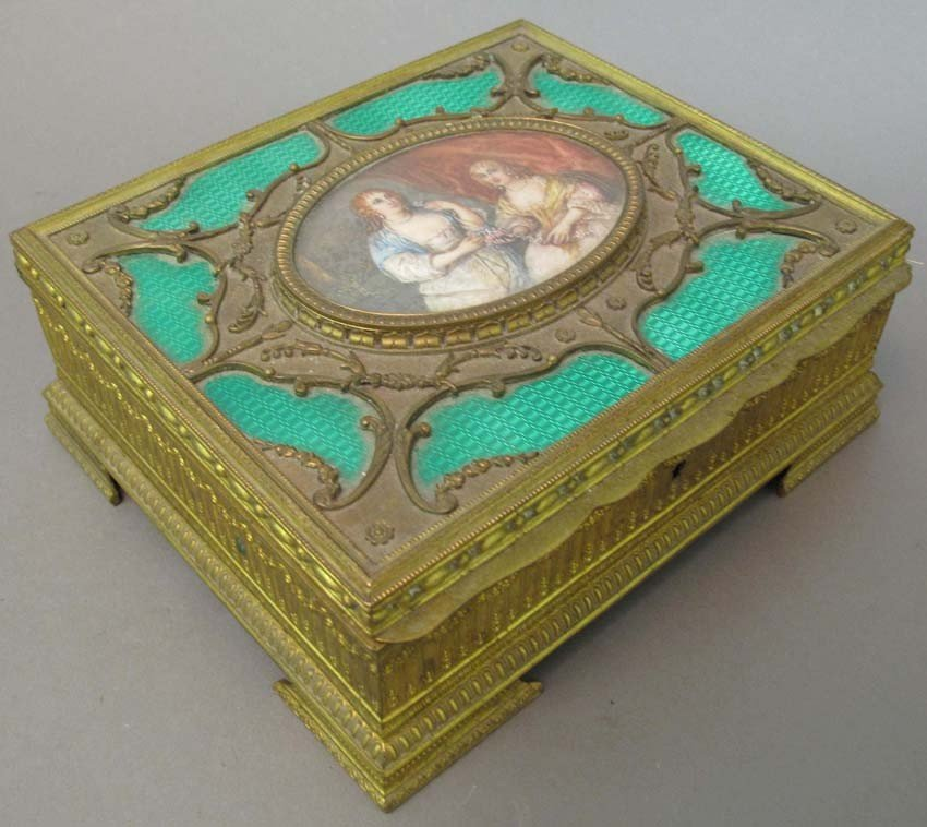 1001: FRENCH DRESSER BOX with Painting on Ivory sight o