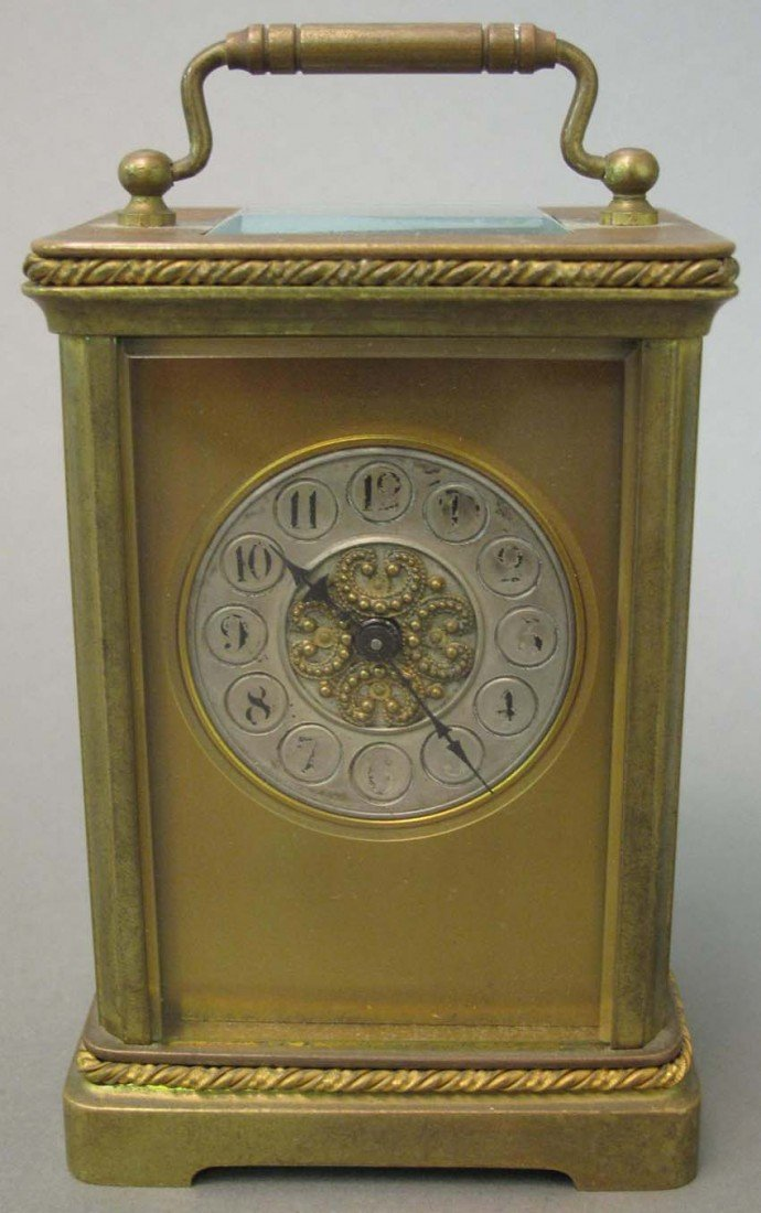 1002: FRENCH CARRIAGE CLOCK with Mosaic Design Dial Hei