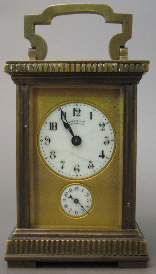 1005: FRENCH DOUBLE DIAL CARRIAGE CLOCK- Shreve & Co.,