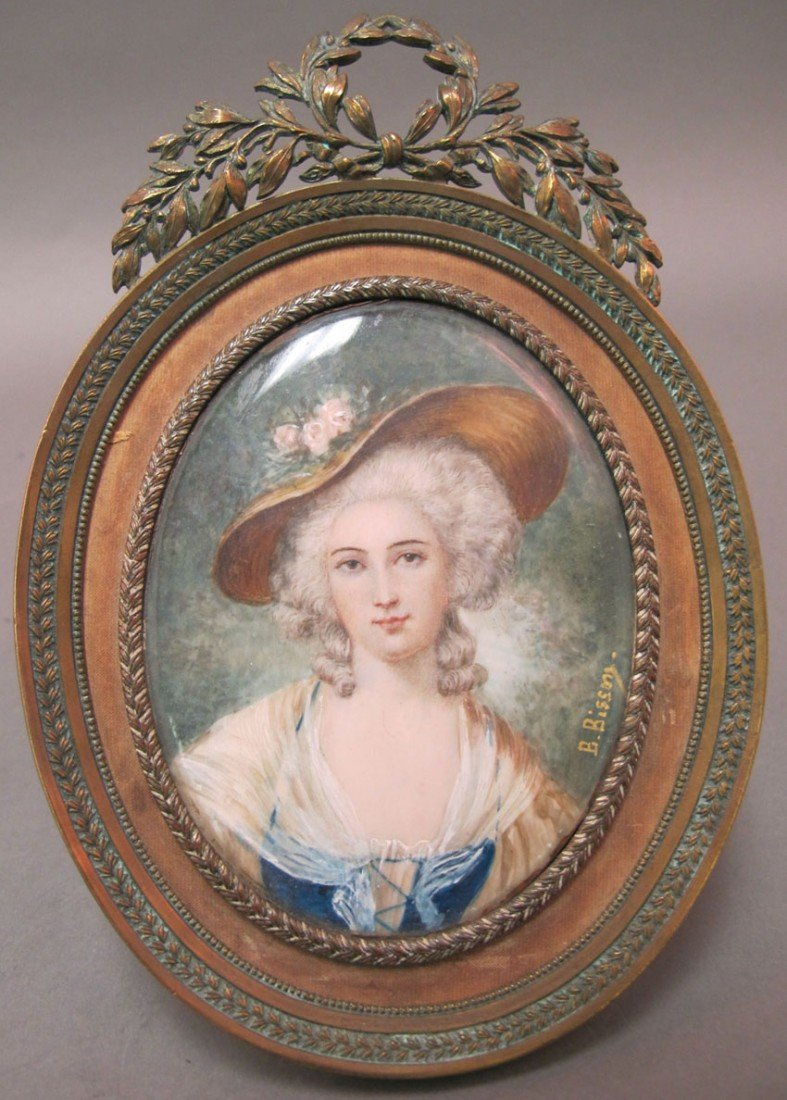1011: FRENCH PAINTING ON IVORY artist signed circa 19th