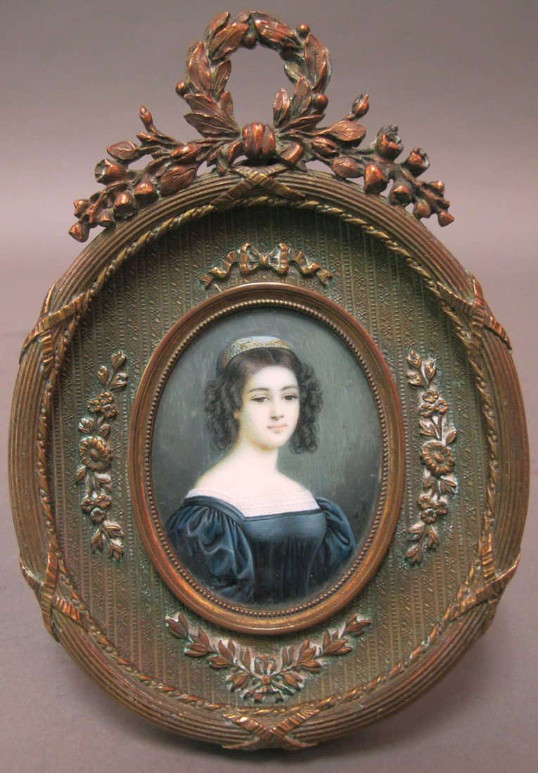 1011A: FRENCH PORTRAIT ON IVORY artist signed circa 19t
