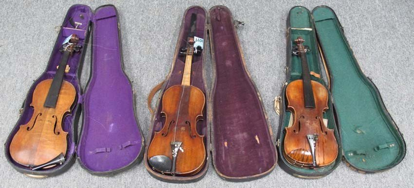 1019: LOT OF (3) EARLY VIOLINS one bears the label: NIC