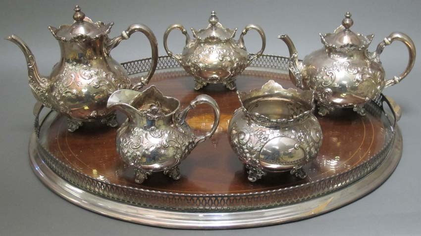 1218: STERLING SILVER (5) PC. TEA SERVICE weight: 90 tr