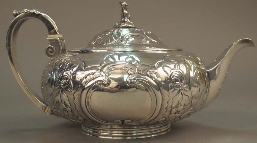 "1: GEORGE III SILVER TEAPOT circa 1815 height: 5"" lengt"