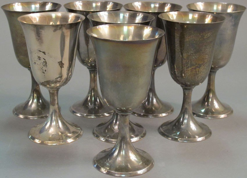 "2: SET OF (8) STERLING SILVER GOBLETS height: 6 1/2"" we"